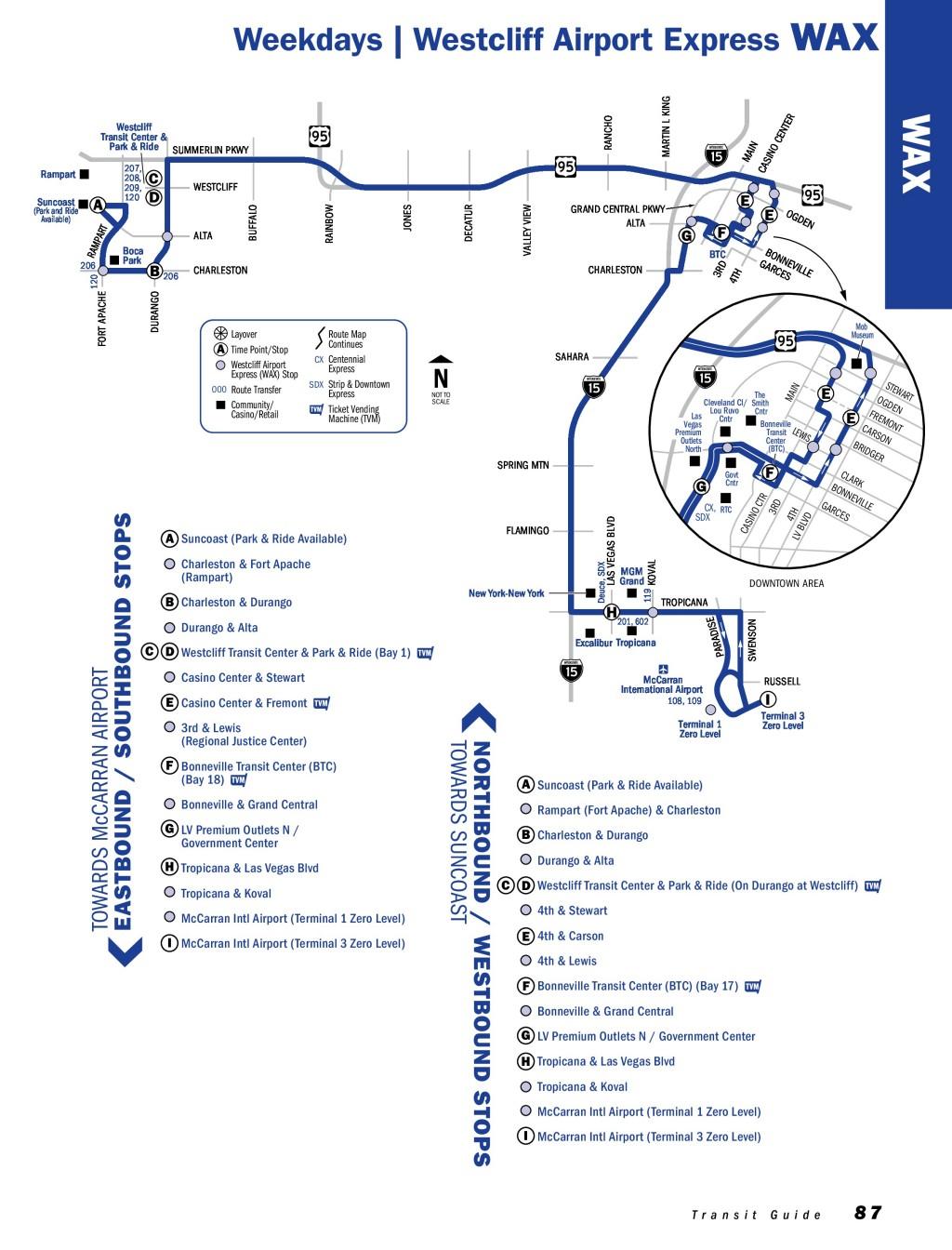 แผนที่เส้นทางเดินรถ RTC WAX ในลาสเวกัส