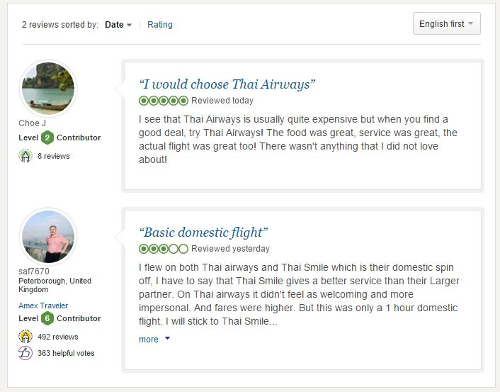 tripadvisor thai reviews