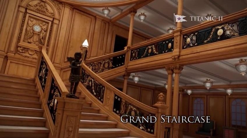 บันไดโถงกลางบนเรือ Titanic 2 ที่หลายคนคุ้นเคยกันดีจากฉากในภาพยนตร์