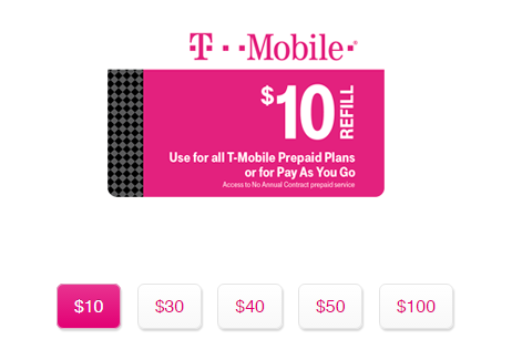 T mobile refill card for T mobile refill