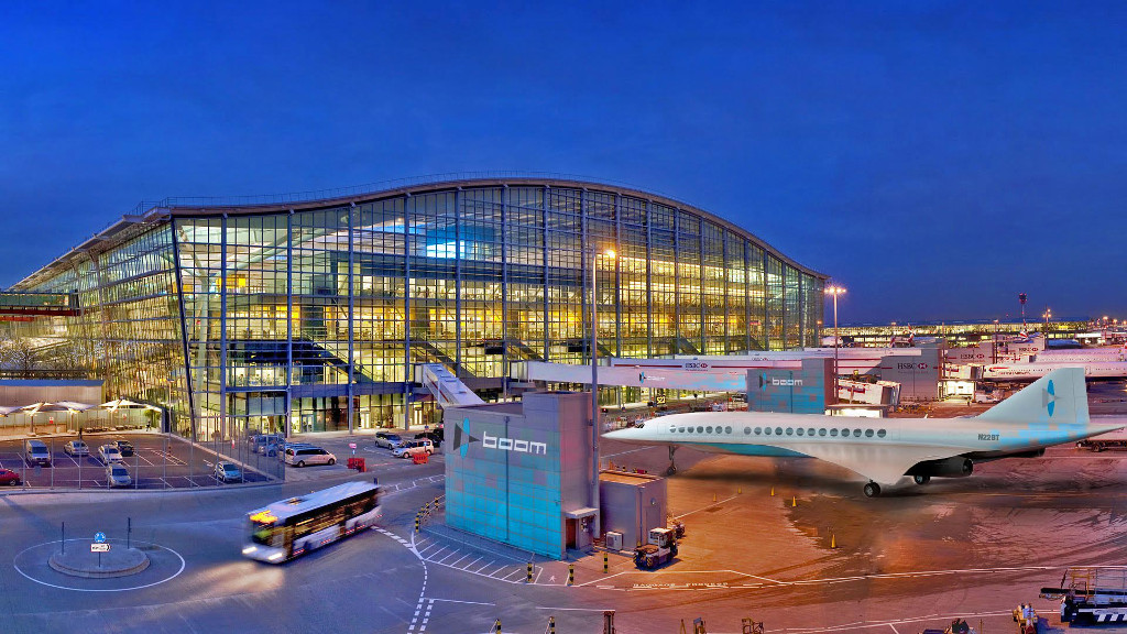 ภาพกราฟิกจำลอง Boom จอดที่สนามบิน Heathrow