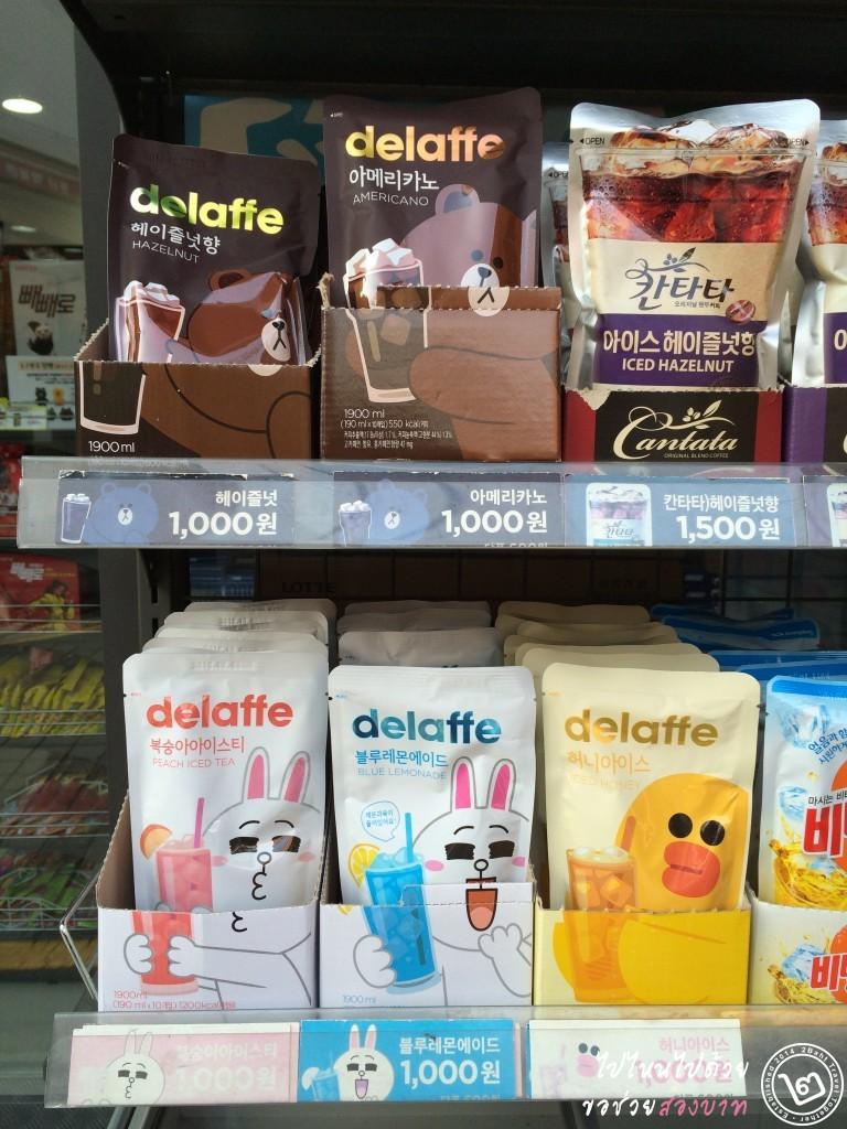น้ำถุง delaffe เกาหลี มาในถุงลาย Brown, Cony, Sally