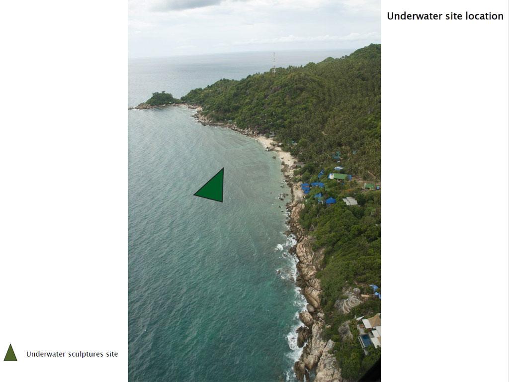 แผนที่ จุดแสดงผลงานประติมากรรมใต้ทะเลที่ หาดเต่าทอง เกาะเต่า จ.สุราษฎร์ธานี