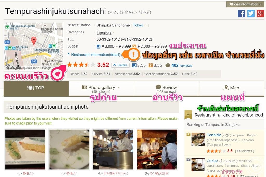 รายละเอียดของร้านอาหารญี่ปุ่น รูปถ่าย และแผนที่ พร้อมคะแนนรีวิวใน Tabelog