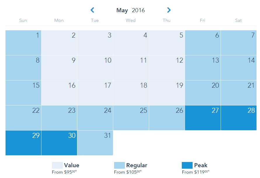 ตัวอย่างราคาตั๋ว 3 ระดับของ Disneyland ใน 1 เดือน แยกตามสี