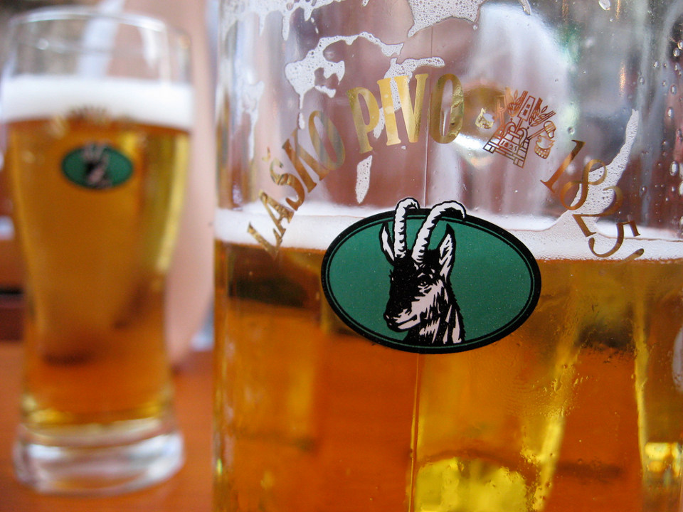เบียร์ Lasko ยี่ห้อยอดนิยมของสโลวีเนีย (ภาพโดย Leon Barnard)