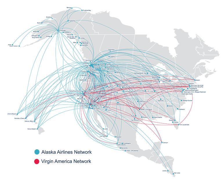 แผนที่เส้นทางบินของ Alaska (น้ำเงิน) และ Virgin (แดง)