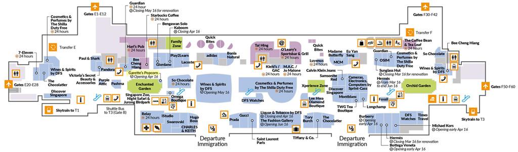 แผนที่ Garrett Popcorn สนามบินชางงี