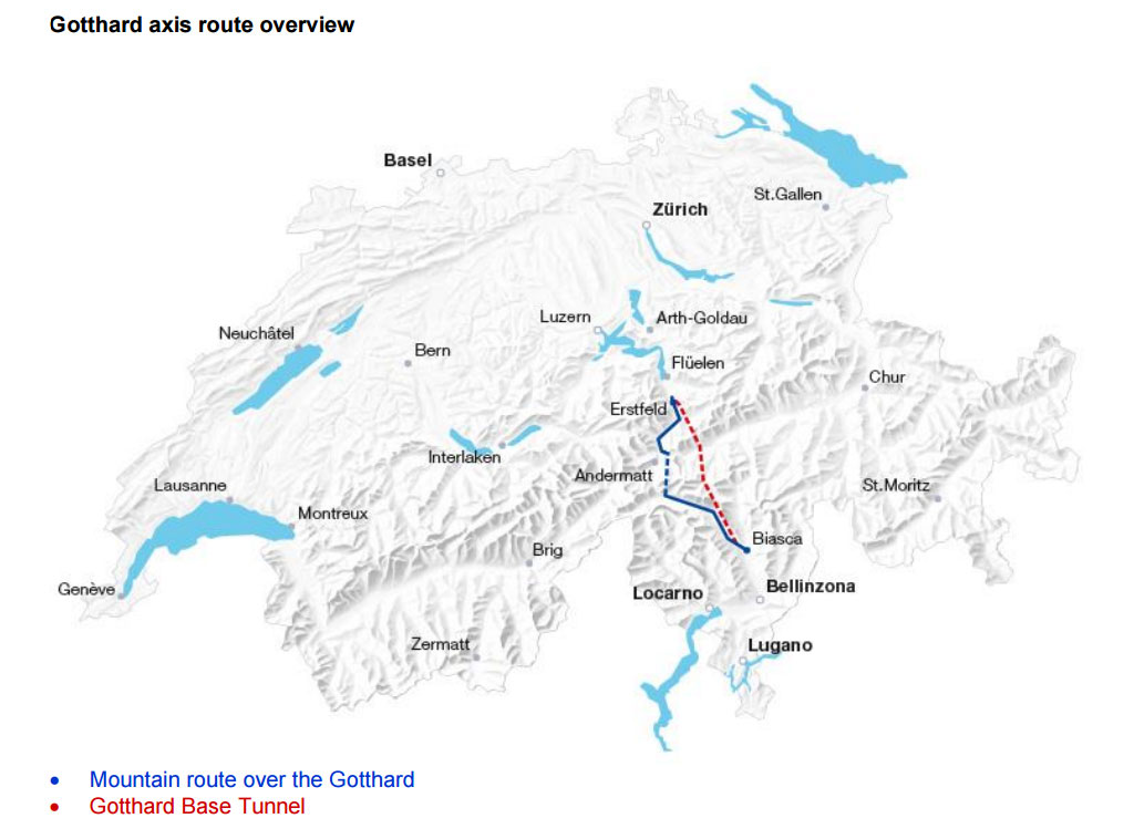 เส้นทางอุโมงค์รถไฟกอตทาร์ด (สีแดง)