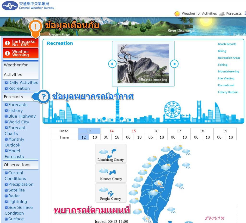 เว็บของสำนักอุตุนิยมวิทยาไต้หวัน (Central Weather Bureau)