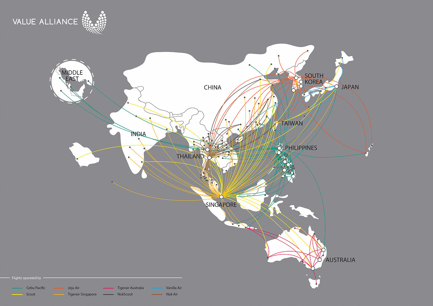 แผนที่แสดงเส้นทางบินของกลุ่ม Value Alliance