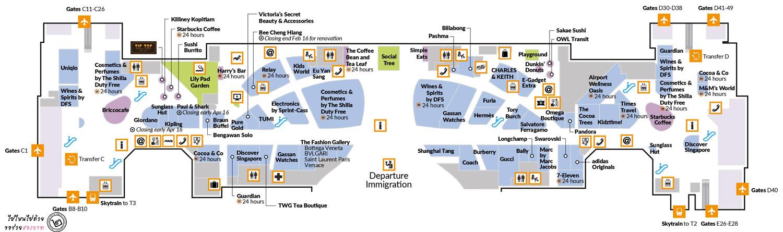 แผนที่สนามบินชางงี สิงคโปร์ Terminal 1 ชั้น 2