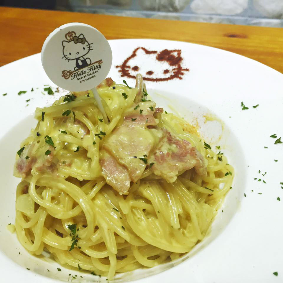 เมนู Spaghetti Cabonara จาก Hello Kitty Secret Garden ฮ่องกง