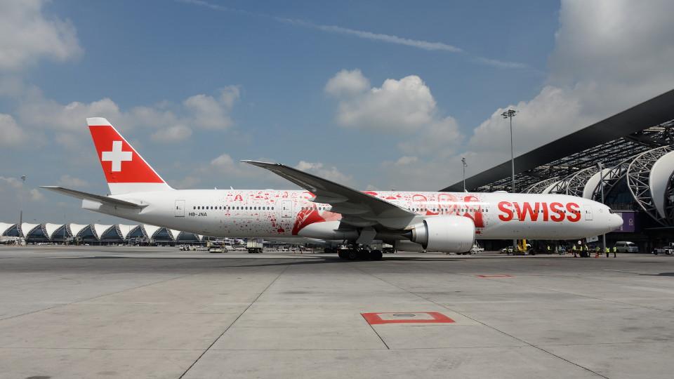 SWISS Boeing 777-300ER ที่สนามบินสุวรรณภูมิ