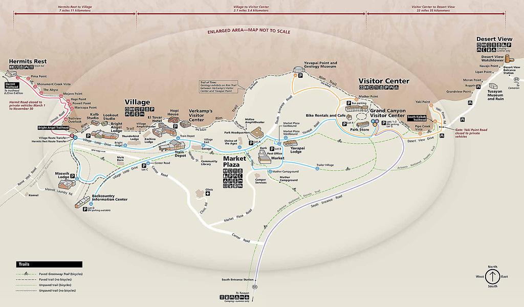 แผนที่แกรนด์แคนยอนฝั่ง South Rim