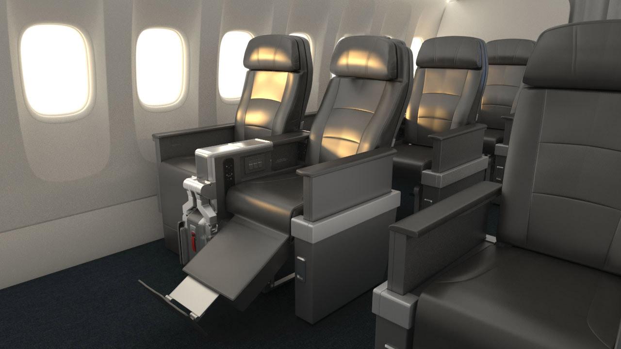 เก้าอี้นั่งของ American Airlines Premium Economy