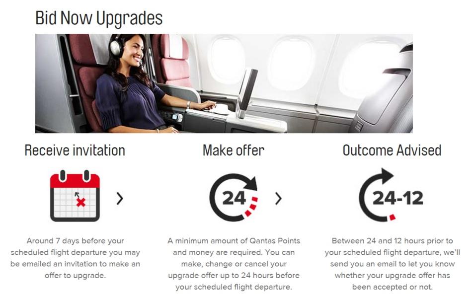 ระบบประมูล Bid Now Upgrades ของสายการบิน Qantas