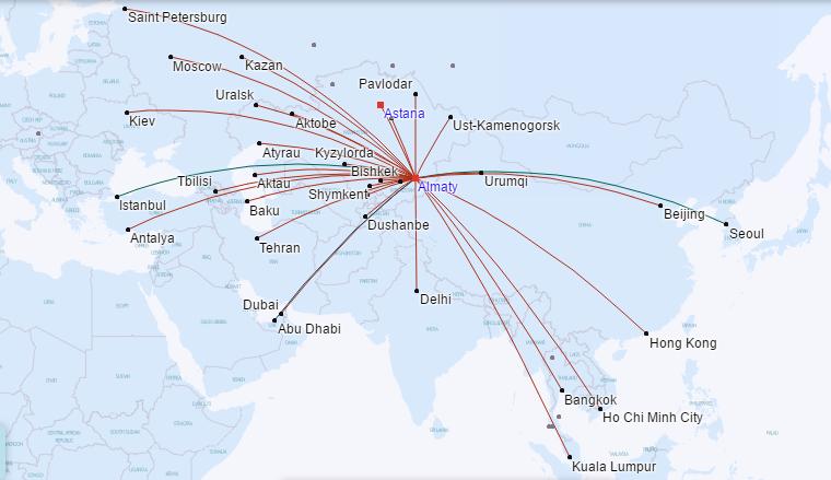 แผนที่เส้นทางบินของ Air Astana (July 2016)
