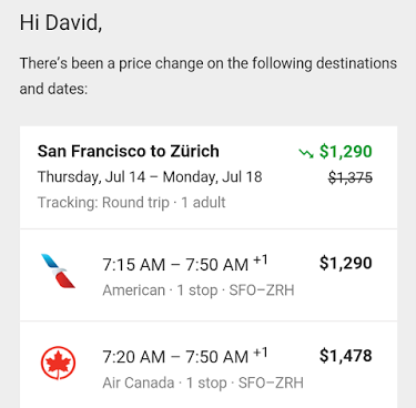 Google Track Prices