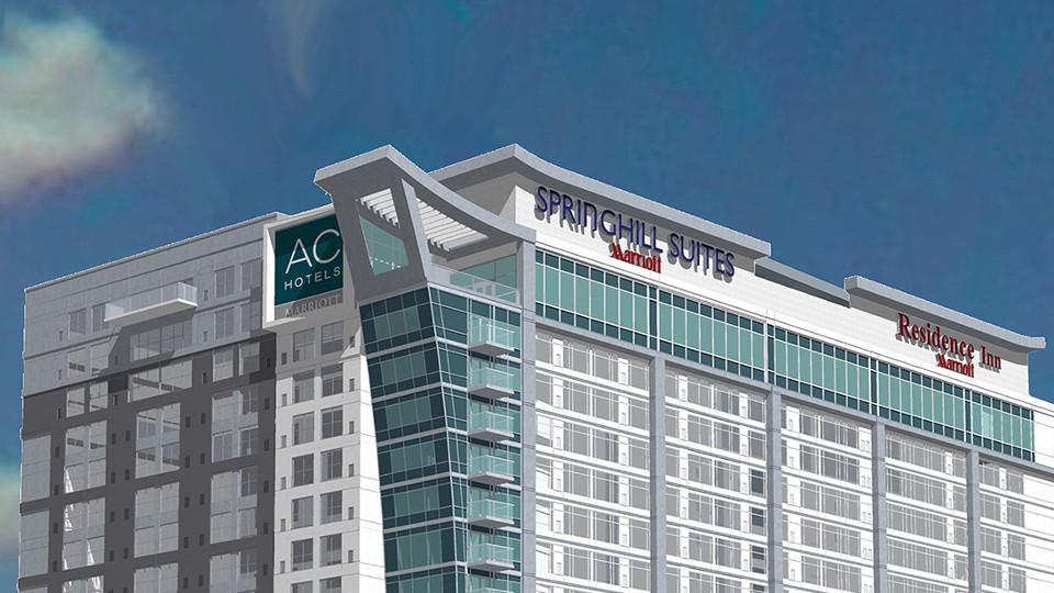 ภาพกราฟิกแสดงตึก 3 แบรนด์โรงแรมของ Marriott
