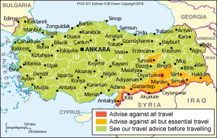 แผนที่เตือนภัยความเสี่ยงของการเดินทางไปยังตุรกี (ภาพจาก UK Government - July 2016)