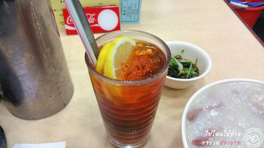 ชามะนาว ร้าน Sang Kee Congee Shop ร้านโจ๊กฮ่องกงดั้งเดิม ย่าน Sheung Wan