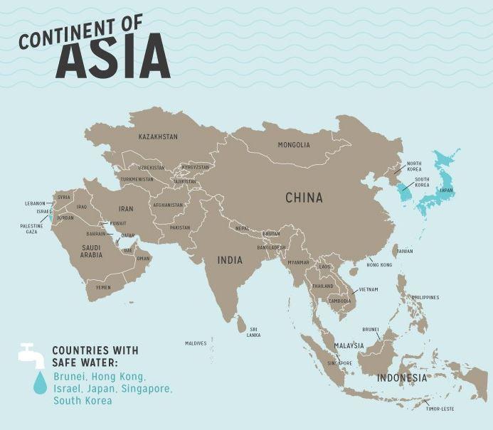 รายชื่อประเทศน้ำประปาดื่มได้ ในเอเชีย (Asia safety tap water)