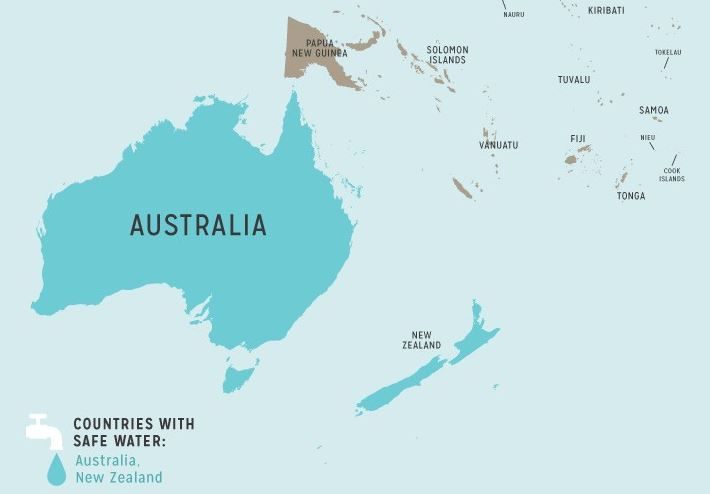 รายชื่อประเทศน้ำประปาดื่มได้ ในออสเตรเลีย-โอเชียเนีย (Australia safety tap water)