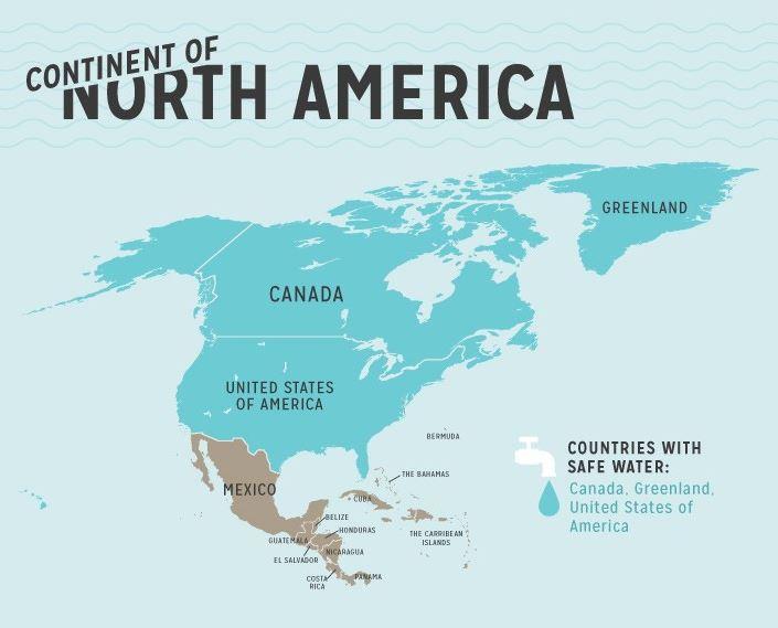 รายชื่อประเทศน้ำประปาดื่มได้ ในอเมริกาเหนือ (North America safety tap water)