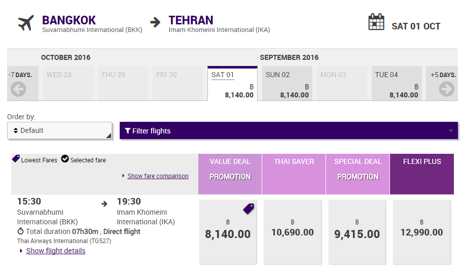 thai airways tehran