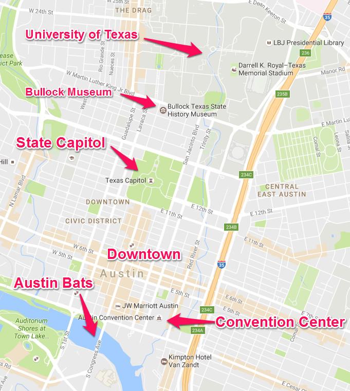 แผนที่สถานที่สำคัญใจกลางเมือง Austin