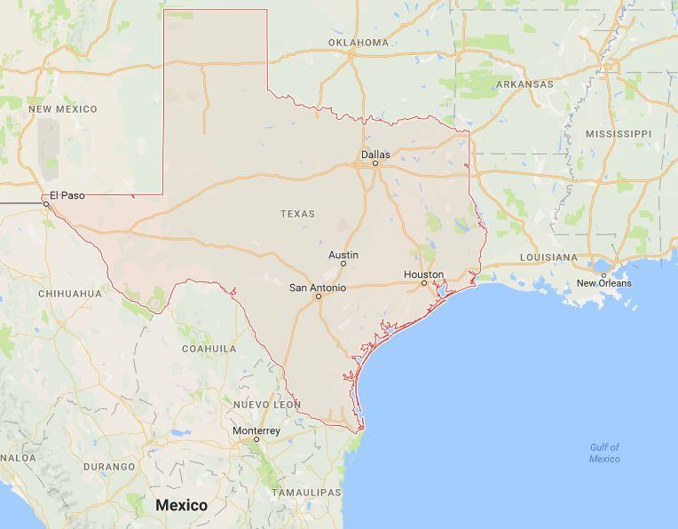 แผนที่รัฐเท็กซัส แสดงเมืองหลักทั้ง 3 เมือง